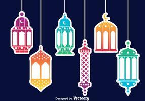 Vecteur de lanterne arabe coloré