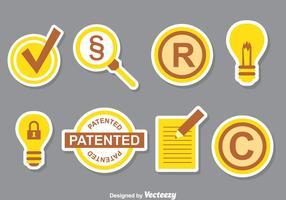Ensemble de collection d'icônes de brevets vecteur