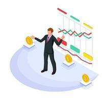 homme affaires, présentation, croissant, graphique