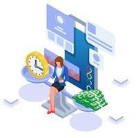 femme d'affaires gérer son contenu pour obtenir de l'argent