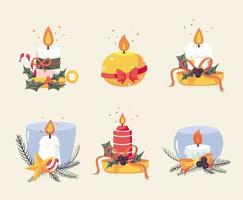 ensemble de bougies de Noël vecteur