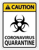 Jaune, noir '' attention coronavirus quarantaine '' signe
