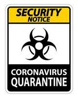 Panneau `` Avis de sécurité sur la mise en quarantaine des coronavirus ''