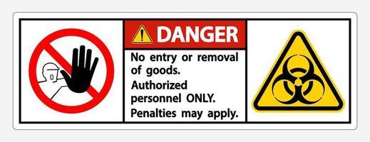 '' danger '' quarantaine '' personnel autorisé uniquement '' signe vecteur
