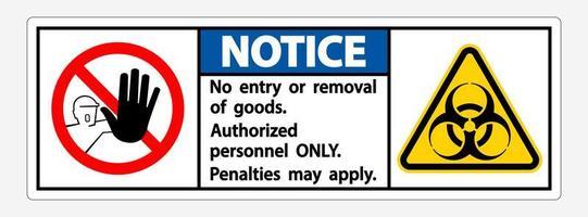 avis quarantaine '' personnel autorisé uniquement '' signe vecteur