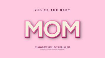 effet de texte avec maman rose tendre vecteur