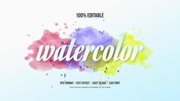 effet de texte avec aquarelle colorée vecteur
