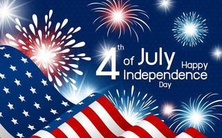 affiche de la fête de l'indépendance heureuse avec drapeau et feux d'artifice