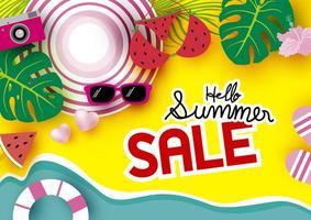 bannière de vente d'été avec scène de plage vue de dessus