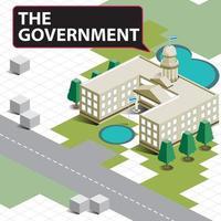 bâtiment de paysage gouvernemental isométrique