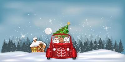paysage d'hiver avec le père Noël, les rennes et le bonhomme de neige en voiture