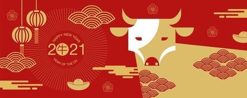Bannière du nouvel an chinois 2021 avec vue de face de boeuf