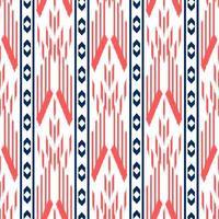 motif ethnique décoratif sans couture rouge, blanc et bleu