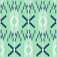 modèle sans couture d'ikat vert, blanc et bleu