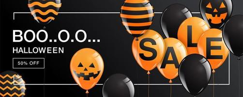 bannière de vente boo halloween avec des ballons sur fond noir