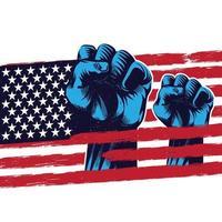 drapeau américain, poing levé, bannière