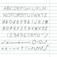 ensemble de lettres d'architecte dessinés à la main