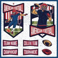 éléments et emblèmes de football américain rétro