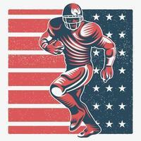 joueur de football américain rétro vecteur