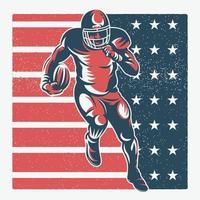 Joueur de football en cours d'exécution sur le drapeau américain texturé vecteur