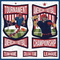 étiquettes de football américain rétro vecteur
