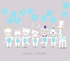 animaux tenant des ballons bleus