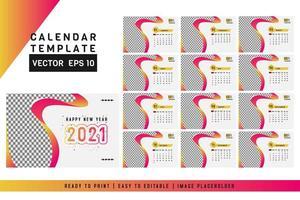 calendrier de bureau 2021 de janvier à décembre