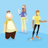 trois personnes masquées dans des poses différentes vecteur