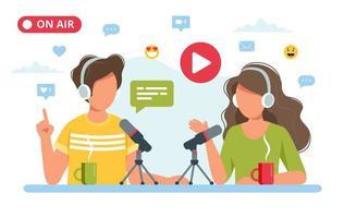 gens, enregistrement, podcast, studio vecteur