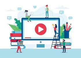 écran d'éducation en ligne avec vidéo, livres et crayons vecteur