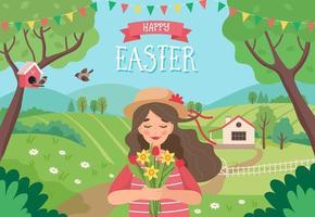 carte de Joyeuses Pâques avec fille dans le paysage de printemps
