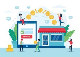 processus de paiement de commande en ligne avec tablette