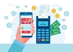 paiement mobile avec terminal pos vecteur