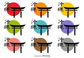 Torii icon icon silhouettes vecteur