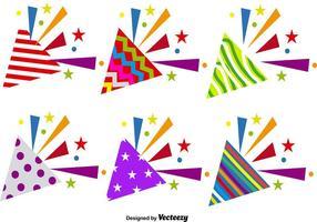Ensemble vectoriel d'icônes de poppers de fête
