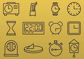 Icônes de ligne d'horloge vecteur