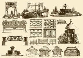 Décoration de jardin vintage vecteur