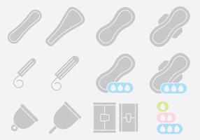 Coussinets gris et icônes tampon