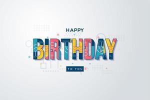arrière-plans d'anniversaire avec écriture memphis colorée