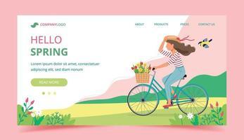 Bonjour page d'atterrissage de printemps avec une femme à vélo vecteur