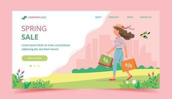 modèle de page de destination de concept de vente de printemps