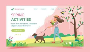 conception de modèle de page de destination des activités de printemps