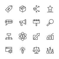 jeu d'icônes de ligne lié à l'activité marketing