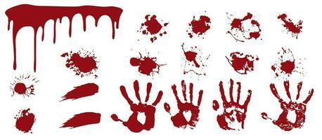 spray sanglant et empreintes de mains.