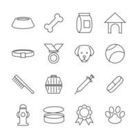 jeu d'icônes de ligne d'animalerie ou de soins