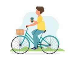 homme monté sur un vélo au printemps vecteur
