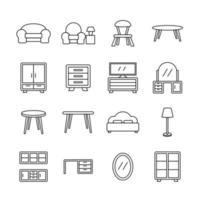 jeu d'icônes de ligne de meubles de maison