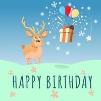 carte de joyeux anniversaire avec cerf mignon, ballon et boîte-cadeau