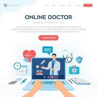 page de destination de la consultation médicale d'un médecin en ligne