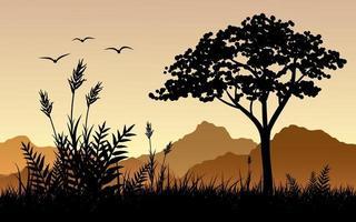 plantes et montagnes silhouette vecteur